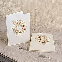 Christmas greeting cards, 'Golden Wishes' (set of 4) - Handcrafted Christmas Greeting Cards Envelopes (set of 4)