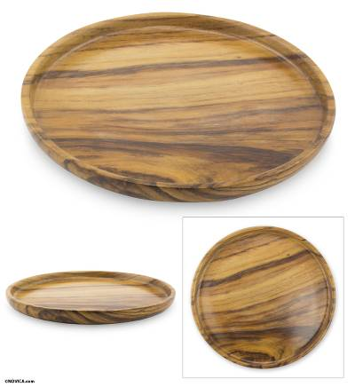 Wood serving platter, 'Nature' - Round Wood Serving Platter from Guatemala
