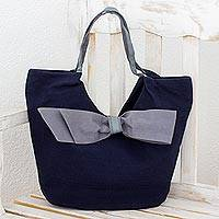 Cotton hobo bag, 'Chic Navy Bow' - Blue Leather Accent Handbag with Grey Trim