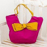 Leather accent cotton hobo bag, 'Chic Yellow Bow' - Hot Pink Leather Accent Handbag with Yellow Trim