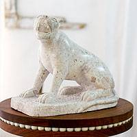 Marble sculpture, 'Fierce Jaguar' - Nicaraguan Wild Cat Theme Stone Sculpture