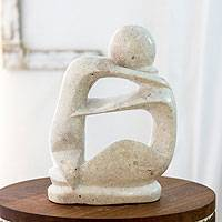 Marble sculpture, 'One Love' - Hand Carved Modern Romantic Stone Sculpture