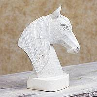 Marble sculpture, 'Grey Stallion' - Hand Carved Nicaraguan Stone Horse Sculpture