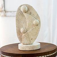 Marble sculpture, 'A Mother's Love' - Modern Marble Relief Sculpture of a Mom and her Children
