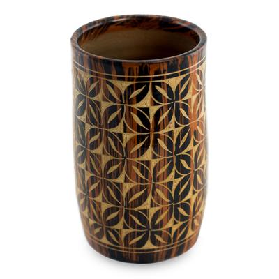 Ceramic decorative vase, 'Floral Maze' - Handcrafted Ceramic Vase