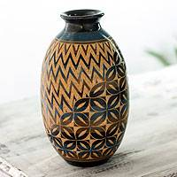 Ceramic decorative vase, 'Tropical Petals' - Modern Floral Decorative Vase