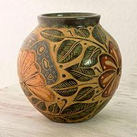Ceramic decorative vase, 'Masaya' - Engraved Multicolor Terracotta Vase from Central America