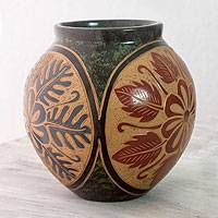 Ceramic vase, 'City of Flowers' - Engraved Floral Terracotta Vase from Central America