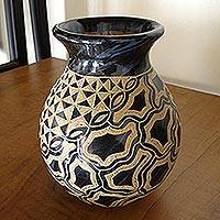 Ceramic decorative vase, 'Rio Coco' - Nicaraguan Blue and Brown Hand Crafted Ceramic Vase
