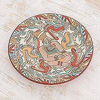 Ceramic decorative plate, 'Cacique' - Archaeological Replica Handcrafted Ceramic Plate