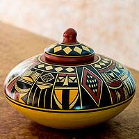 Ceramic decorative jar, 'El Cascal Sunset' - Handmade Pre-Hispanic Replica Jar and Lid from Nicaragua