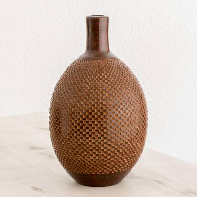 Ceramic decorative vase, 'Natural Geometry' - Natural Terracotta Decorative Vase from Nicaragua