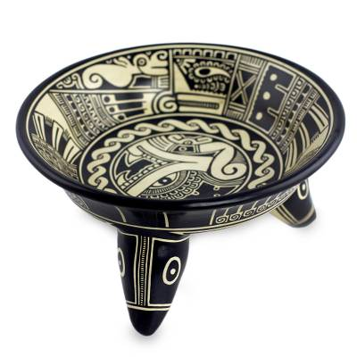 Black and White Archaeological Decorative Vessel