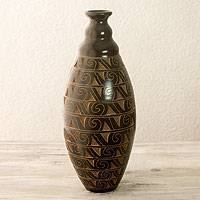 Ceramic decorative vase, 'Pacific Surf' - Wave Motif Handcrafted Terracotta Vase from Nicaragua