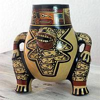 Ceramic decorative vessel, 'Jaguar Shaman' - Pre-Hispanic Replica Vessel from Nicaragua