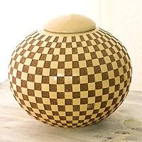 Ceramic decorative jar, 'Checkered' - Nicaraguan Handcrafted Terracotta Jar and Lid