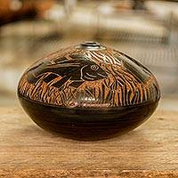Ceramic decorative vase, 'Marine Voyage' - Hand Crafted Etched Decorative Ceramic Vase from Nicaragua