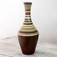 Ceramic decorative vase, 'Earthen Paths' - Nicaraguan Artisan Crafted Brown Ceramic Vase