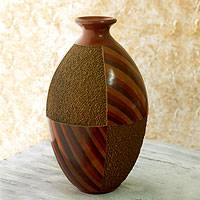 Ceramic decorative vase, 'Living Lava' - Central American Artisan Crafted Ceramic Vase