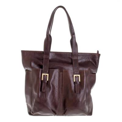 Brown Leather Shoulder Bag Lined