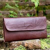 Leather wallet, 'Frugal Cocoa' - Multi-pocket Brown Leather Wallet for Women