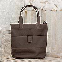 Leather shoulder bag, 'Exquisite Brown' - Multi-pockets Leather Shoulder Bag