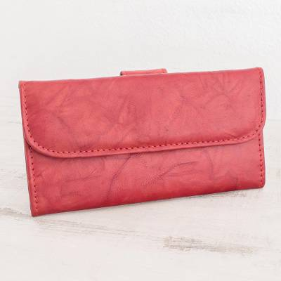 Leather wallet, 'Crimson Credit' - Multi-pocket Red Leather Wallet for Women