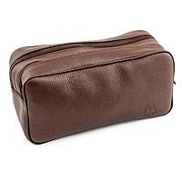 Men's leather toiletries bag, 'Urban Brown' - Men's Leather Multi-pocket Toiletries Bag Lined
