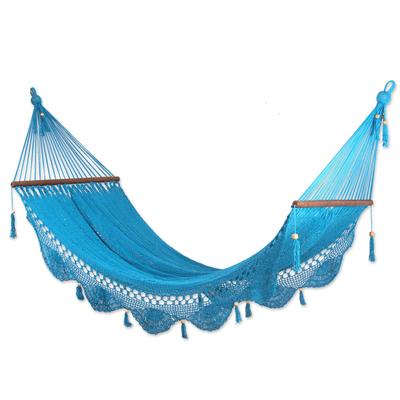 Cotton hammock, 'Coco Beach' (single) - Handmade Blue Cotton Hammock from Nicaragua (Single)