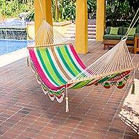 Cotton hammock, 'Tropical Watermelon' (single) - Handmade Cotton Hammock from Nicaragua (Single)