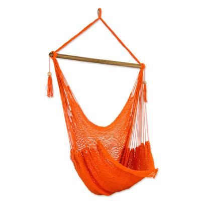 Handcrafted Orabge Cotton Hammock Swing