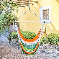 Cotton hammock swing, 'Caribbean Citrus' - Handcrafted Cotton Hammock Swing in Green and Orange