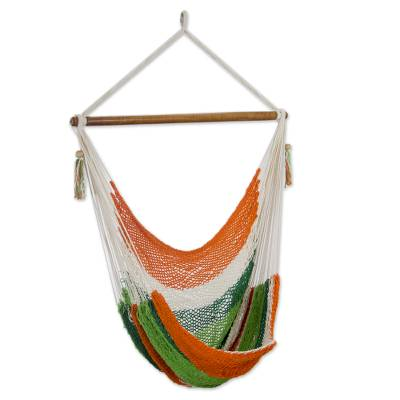 Handcrafted Cotton Hammock Swing in Green and Orange