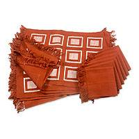 Cotton placemat and napkin set, 'Antigua Brown' (set of 6) - Hand-woven Cotton Placemats and Napkins (set of 6)