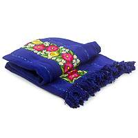 Cotton tablecloth, 'Atitlan Floral' - Handwoven Embroidered Blue Cotton Table Cloth