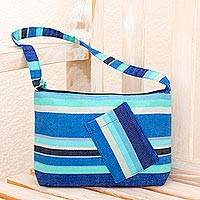 Cotton shoulder bag, 'Colors of My Ocean' - Unique Blue Striped Cotton Shoulder Bag