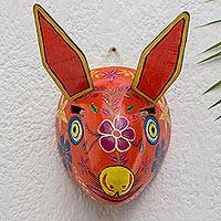 Wood mask, 'Dancing Rabbit' - Guatemala Rabbit Folk Dance Mask