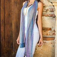 Rayon chenille scarf, 'Solola Lavender' - Handcrafted Bamboo fibre Scarf