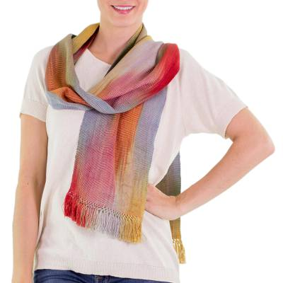 Bamboo fiber scarf, 'Solola Afternoon' - Bamboo Fiber Scarf Woven by Hand