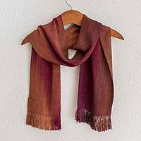 Bamboo fiber scarf, 'Solola Wine Cocoa' - Handcrafted Bamboo Fiber Scarf
