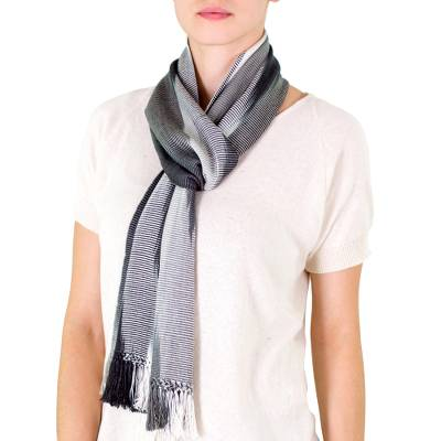 Rayon chenille scarf, 'Solola Mist' - Guatemalan Bamboo fibre Scarf