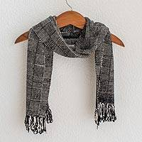 Rayon chenille scarf, 'Monochrome Riddle' - Black and White Handcrafted Rayon Chenille Scarf