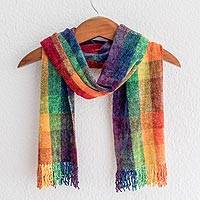 Rayon chenille scarf, 'Gift of the Rainbow' - Guatemalan Rainbow coloured Bamboo Chenille Scarf