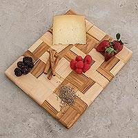 Teak cutting board, 'Puzzle' - Wood Mosaic Cutting Board