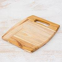 Teak cutting board, 'Tropical' - Handmade Teak Cutting Board