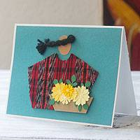 Greeting cards, 'Antigua Florist' (set of 4) - Handcrafted All Purpose Greeting Cards Envelopes (set of 4)