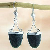 Jade dangle earrings, 'Power of Life' - Artisan Crafted Jade and Sterling Silver Earrings