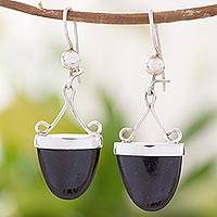 Black jade dangle earrings, 'Power of Life' - Artisan Crafted Black Jade and Sterling Silver Earrings