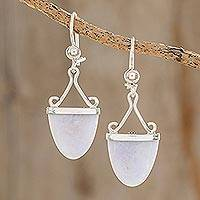 Lilac jade dangle earrings, 'Power of Life' - Artisan Crafted Lilac Jade and Sterling Silver Earrings