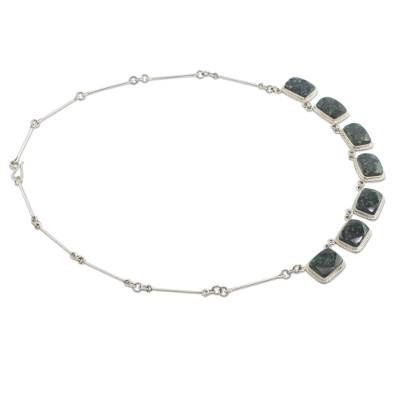 Dark Green Jade Necklace Silver Artisan Jewelry